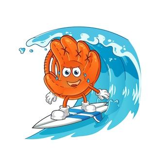 波のキャラクターでサーフィンする野球グローブ