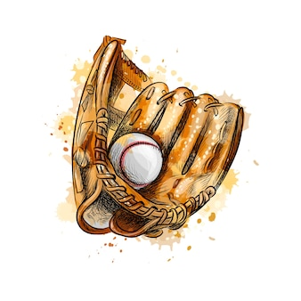 Бейсбольная перчатка с мячом из всплеск акварели, рисованный эскиз. иллюстрация красок