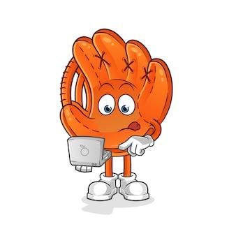 Baseball glove with laptop mascot