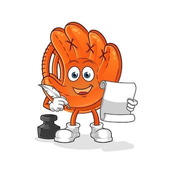Baseball glove writer illustration