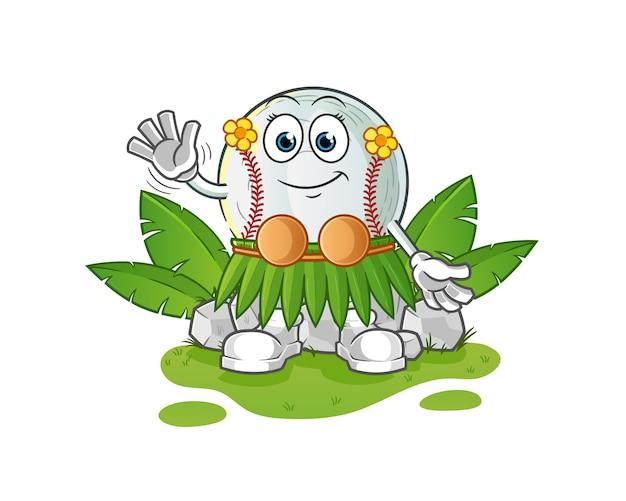 Baseball hawaiian waving character illustration
