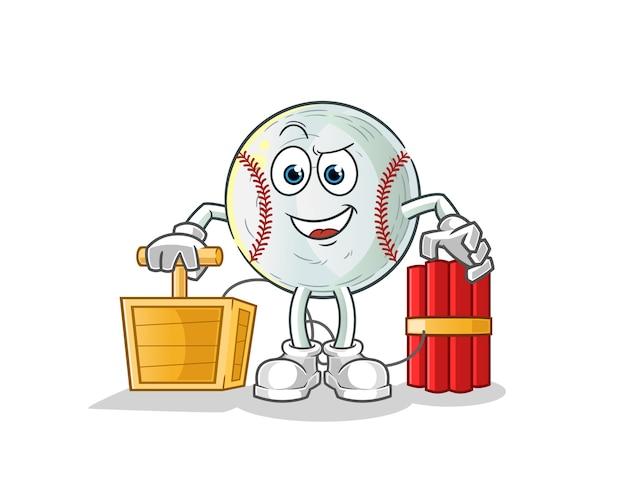 Baseball holding dynamite detonator character illustration