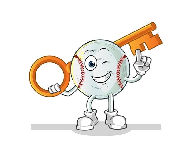 Baseball holding a key illustration