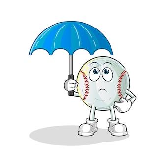 Baseball holding an umbrella illustration