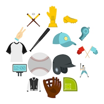 Baseball icons set in flat style