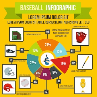 Baseball infographic in flat style for any design