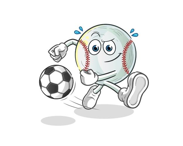 Baseball kicking the ball cartoon illustration