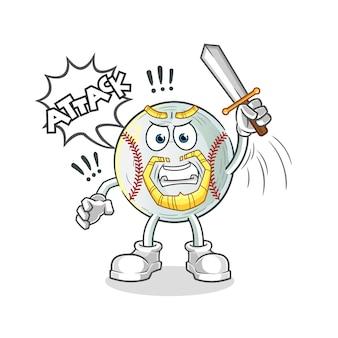野球騎士が剣キャラクターイラストで攻撃