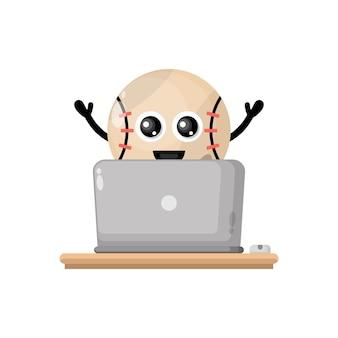 Baseball laptop cute character mascot