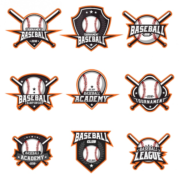 Baseball logo vector set