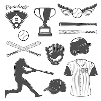 Baseball monochrome elements set