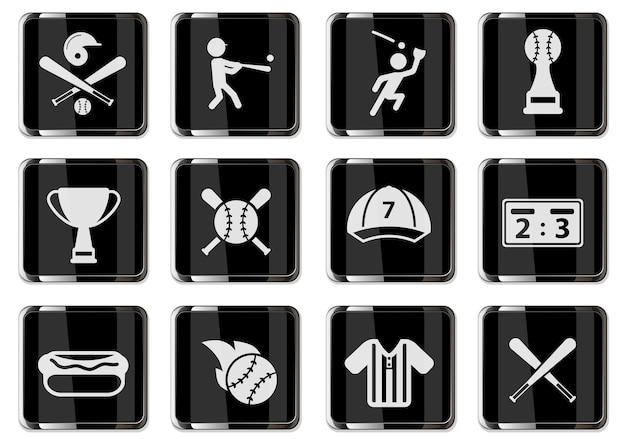 블랙 크롬 버튼에 야구 무늬입니다. 디자인에 대 한 설정 아이콘입니다. 벡터 아이콘