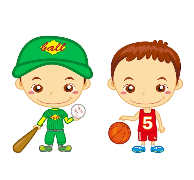A baseball player and a basketball player isolated . kids and sports series