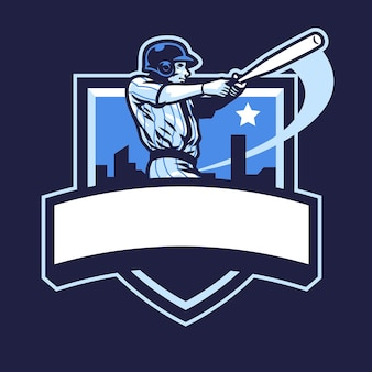 Baseball player club badge design