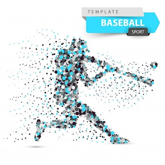 Baseball player color dot illustration.