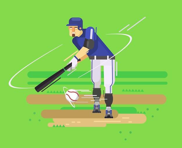 Игрок в бейсбол. плоская иллюстрация