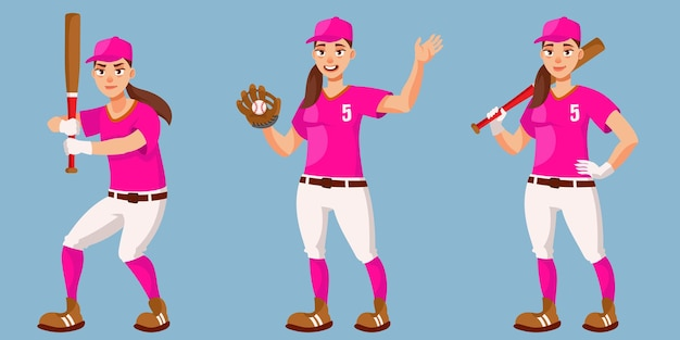 Бейсболист в разных позах. женский человек в мультяшном стиле.