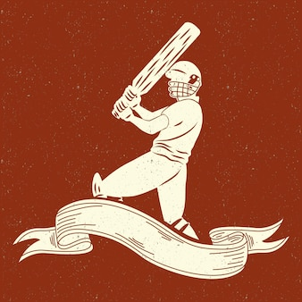 Baseball player in ribbon