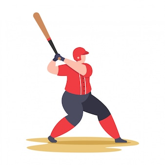 Baseball player swing baseball bat