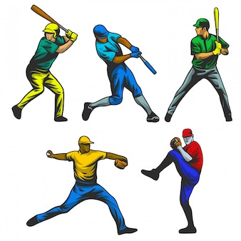 Baseball player vector set