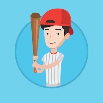 バットのベクトル図と野球選手。