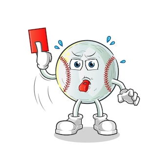 Baseball referee with red card illustration