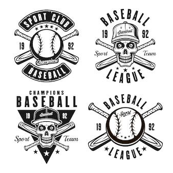 白い背景で隔離のビンテージモノクロスタイルの4つのベクトルエンブレム、バッジ、ロゴまたはtシャツプリントの野球セット