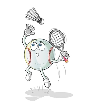Baseball smash at badminton cartoon illustration