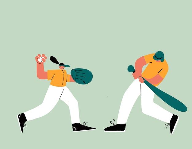 野球ソフトボール選手のキャラクター野球をしている若い陽気なスポーツの女性