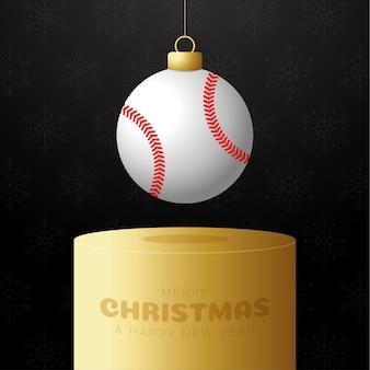 Baseball sport christmas bauble pedestal. merry christmas sport greeting card. hang on a thread baseball ball as a xmas ball on golden podium on black background. sport vector illustration.