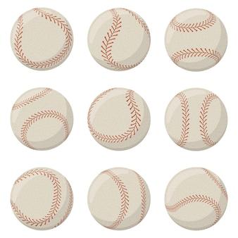 빨간 레이스 바늘로 야구 스포츠 게임 공입니다. 소프트볼, 야구 가죽 공은 끈으로 분리된 벡터 삽화 세트로 장식되어 있습니다. 스포츠 게임 스티치 장비
