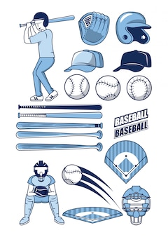 Baseball sport icons collection