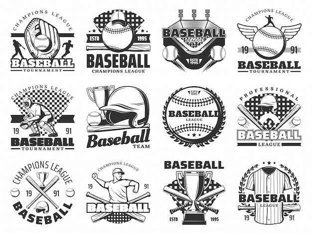 Baseball sport items and players Premium Vector