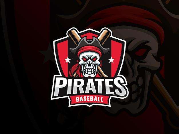 野球スポーツのロゴデザイン。現代のプロ野球ベクトルバッジ。頭蓋骨海賊野球ロゴデザインベクトルテンプレート