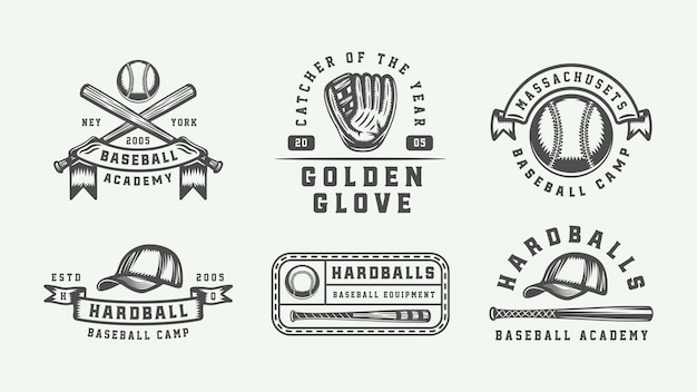 Baseball sport logo set