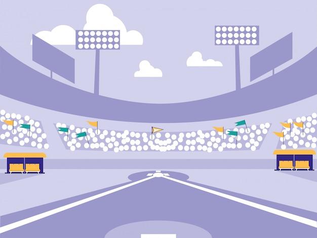野球スポーツスタジアムのシーン