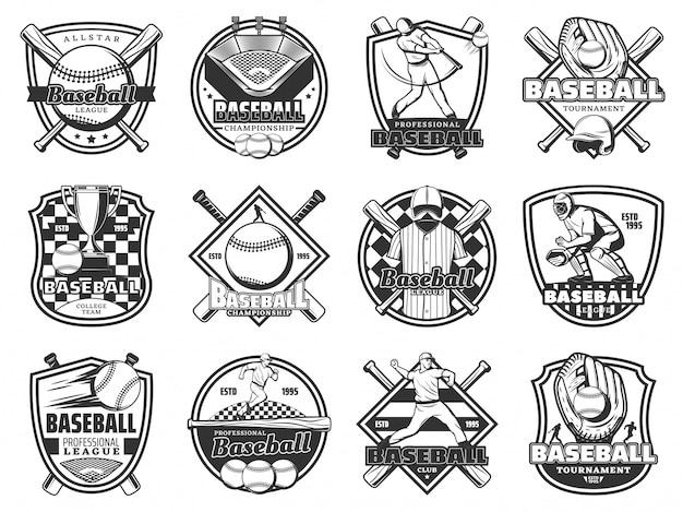 Baseball sport team badge, softball league game