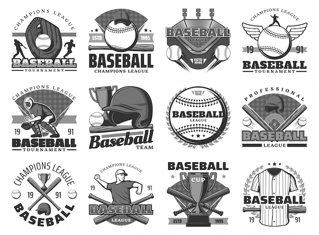 Baseball sport, team club tournament icons