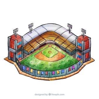 Baseball stadium in isometric style