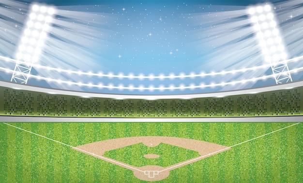 ネオンライトのある野球場。アリーナ。
