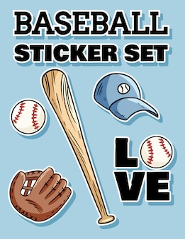 Baseball sticker set. baseball bat, hat and catchig glove label doodles
