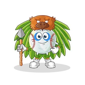 Baseball tribal man mascot illustration