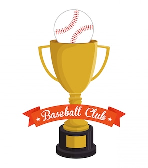 Baseball trophy and ball club illustration