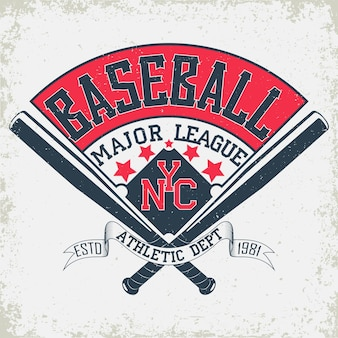Baseball typography emblem, sports logo