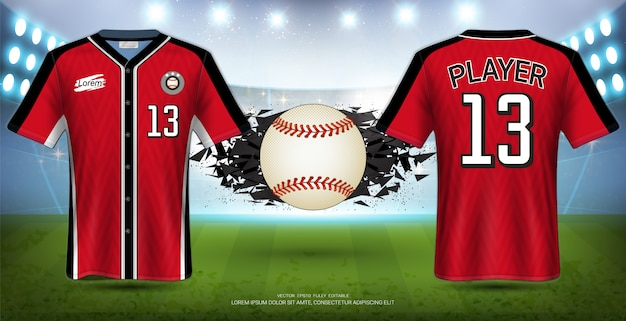 Baseball uniforms & jerseys sport mockup template.