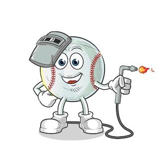 Baseball welder mascot illustration
