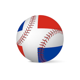 Baseball with flag of dominican republic, isolated on white background.