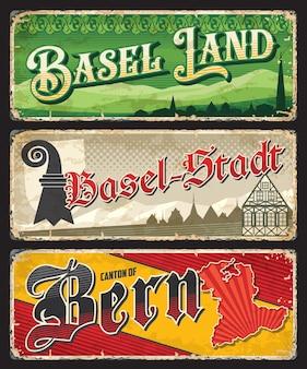 Basel land, basel-stadt 및 bern 스위스 캔톤 플레이트