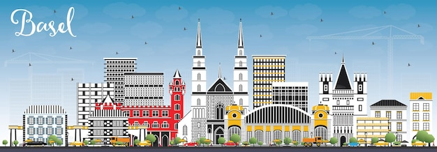 컬러 건물과 푸른 하늘이 있는 바젤 스위스 도시의 스카이라인. 벡터 일러스트 레이 션. 역사적인 건축과 비즈니스 여행 및 관광 개념입니다. 랜드마크가 있는 바젤 도시 풍경.