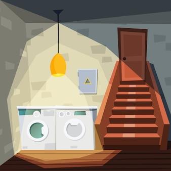 Подвал. мультяшный дом с подвалом со стиральной машиной, лестницей, складом, интерьером, иллюстрации
